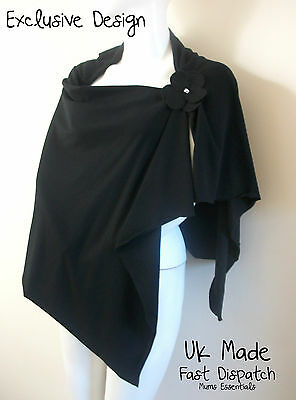 Breastfeeding Poncho Cover/ Hider/ Apron Top stretch UK Made, 2 way Designer