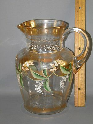 Antique Victorian Clear Glass Pitcher Hand Painted Enamel Lily Of The Valley