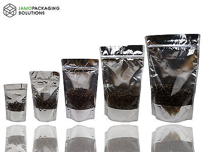 MYLAR STAND UP WINDOW BAGS/ SEALABLE POUCH/ZIPLOCK Silver Shine