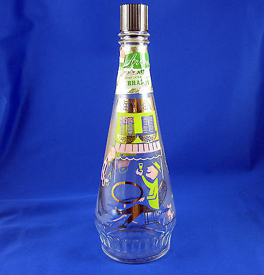 Mid Century Arrow Brandy Decanter Decorative Satin Glass Bottle French Design