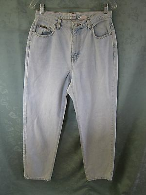 "Calvin Klein Jeans Size 10 Faded High Waist ""Enzyme Wash"" Pale Blue Denim"