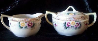 Antique E-OH  Nippon Hand Painted Creamer & Sugar Set with Moriage Beading