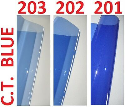 "3 X CTB BLUE Lighting Filter Gel Sheets 24"" x 24"" 201 202 203 1/4 1/2 FULL BLUE"