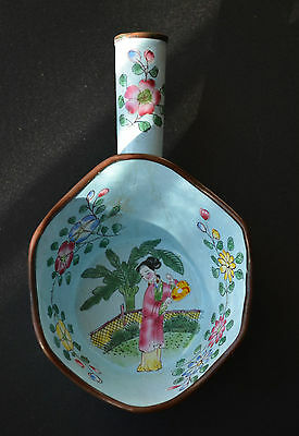 Antique Chinese Silk Iron Brass & Enamel Flowers Ladle Scoop Cup