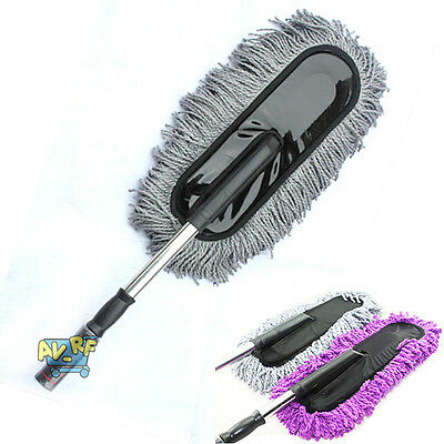Large Cotton Car Truck Wash Cleaning Wax Brush Mop Duster Telescopic Pole Kit
