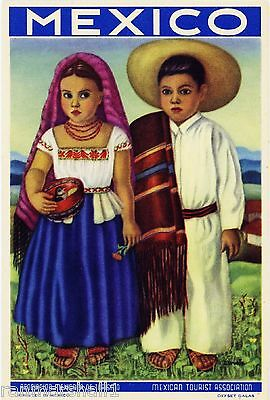 Mexico Mexican Spanish niños chilldren Vintage Travel Advertisement Art Poster