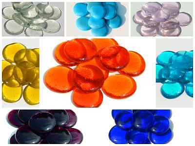 6 x Extra Large Glass Pebbles / Gems / Stones - Various Colours Approx 30-40mm