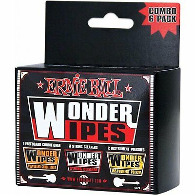 Ernie Ball 4279 Wonder Wipes 6-Pack Combo Pack of Guitar Care Wipes BRAND NEW
