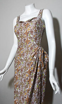Vintage RARE 1940s 1950s Brown Green Patterned Summer Sarong Playsuit Dress