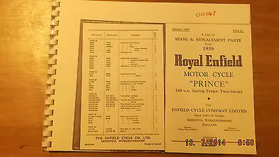 Royal Enfield Prince 1959 Spares List 00147 [3-21-5]