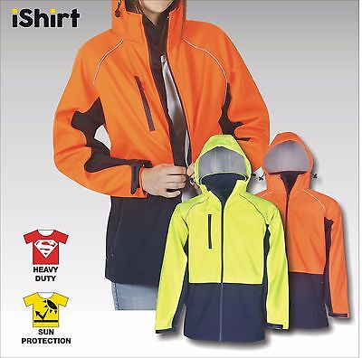 Hi Vis Safety Jacket Soft Shell Waterproof Windproof Hooded Day Use Workwear