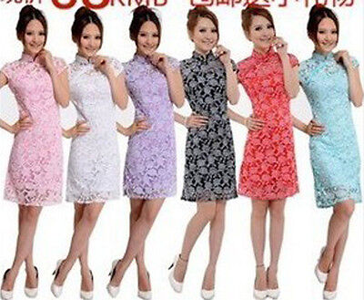 Chinese Fashion Womens Lace Cheongsam Evening Dress/Qipao New EN