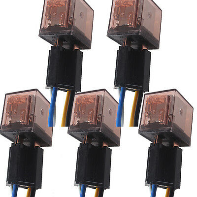 5 X Car Auto Vehicle 12V 80A AMP SPST Transparent Relay & Socket 4Pin 4 Wire