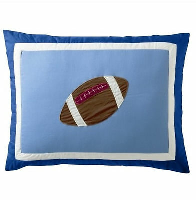STANDARD -  Tiddliwinks Mod Sport Football Blue Brown White QUILTED PILLOW SHAM