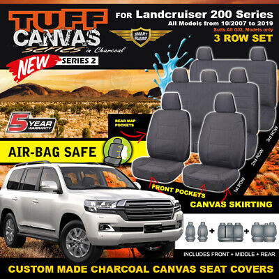 TUFF CANVAS SEAT COVERS for Toyota Landcruiser 200 Series 3ROWs GXL 2007-18 CHAR