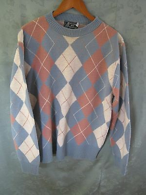 80's Peconic Bay Size XL Argyle All Over Sweater