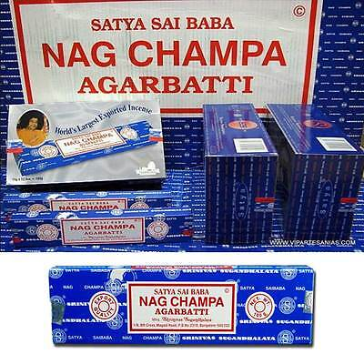 Satya Sai Baba NAG CHAMPA Incense Sticks Box x 12 / 5 / 3 x15g  Packs Agarbathi