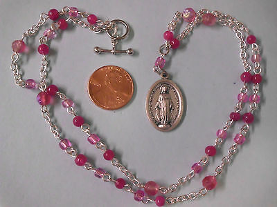 Pink Rosary Style Necklace w Vintage Miraculous Medal Pendant 22 Inch