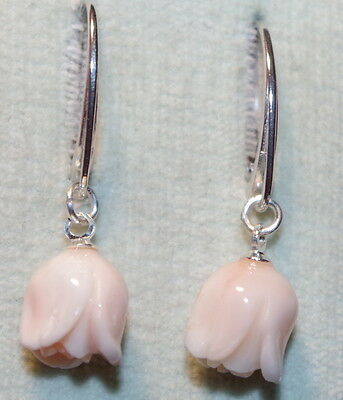 Vintage Gorgeous Sterling Silver Coral Carved Rose Drop Lever Back Earrings