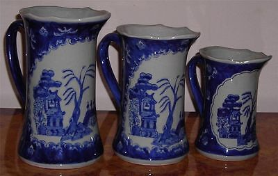 """Japanese """"Willow Design"""" Graduated Jugs x3 In Good Condition"""