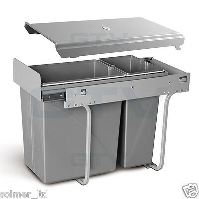 Recycle Bin Pull Out Kitchen Waste Bin 300mm Unit - 30L With SOFT CLOSE Slides