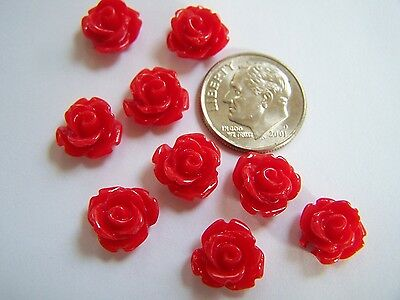 25 pcs Bright Red Detailed Carved Rose Flower Resin Cabs Cabochons Beads