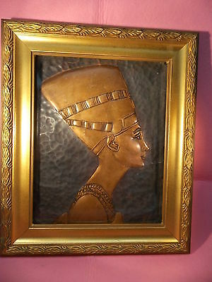 EGYPT-NEFERTITI-QUEEN WIFEof PHARAOH OF EGYPT-HAND HAMMERED- BRASS WALL PLAQUE