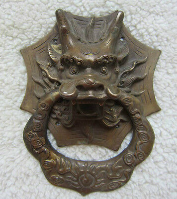 Bronze chinese door knockers Dragon head ward off evil old collectibles
