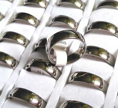 25pcs Silver wedding Stainless Steel Rings 6mm Wholesale Fashion Jewelry Lots