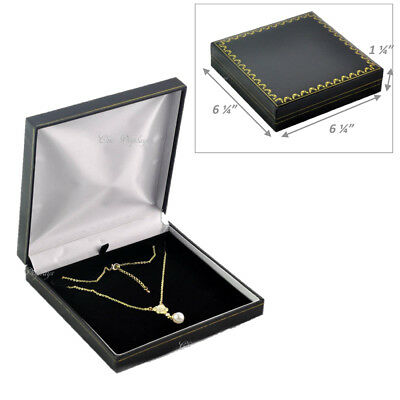 Classic Black Leatherette Necklace Box Necklace Gift Box Large Jewelry Box Deal