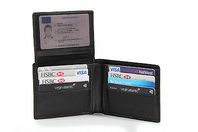 New Mens Classic Trifold 12 card holder Premium Black Grainy Leather Wallet