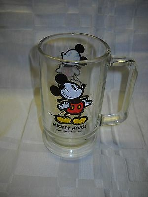Collectible Mickey Mouse Glass Mug by Walt Disney Productions #4956