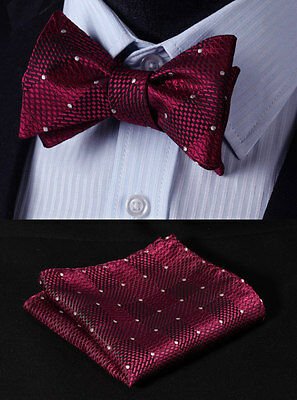 Red Check Bowtie Silk Men Self Bow Tie Butterfly handkerchief set#BC1016R