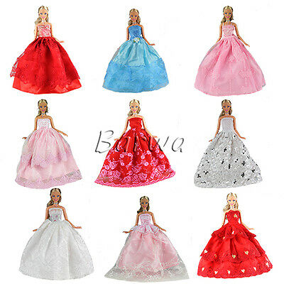 5 Pcs Handmade Fashion Wedding Party Gown Dresses & Clothes For Barbie Doll
