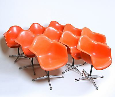 Extremely Rare 1969 Original Eames Herman Miller Matching Set of 10 Orange/Red