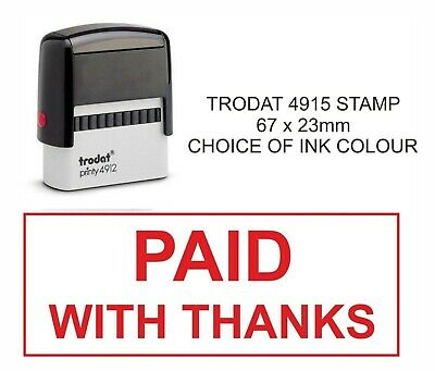 Paid With Thanks Rubber Stamp 11040 Accounts Business Office Shop Hotel School