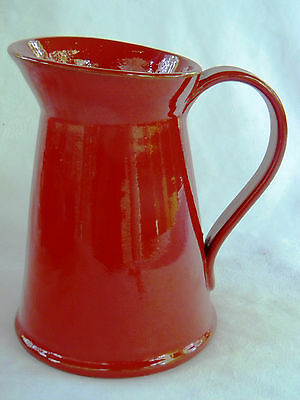 Vibrant Red Hand-Crafted Art Pottery Earthenware Pitcher Jug -  Made in Italy
