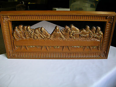 Home Interiors Brown-Gold Syroco Mirror Last Supper Picture Hollywood Regency