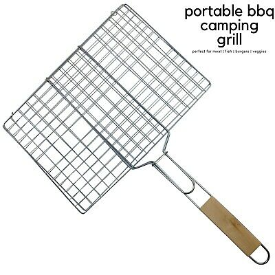 BBQ Meat Fish Grill Basket Vegetables Barbeque FOOD HOLDER Barbecue Tray New