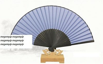 Chinese Japanese Folding Clear Cloth Hand Bamboo Pocket Fan Flower Blue Circle