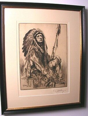 Antique Indian Art Etching Chief Thundercloud Blackfoot Indian Sgn..f.c.stahr