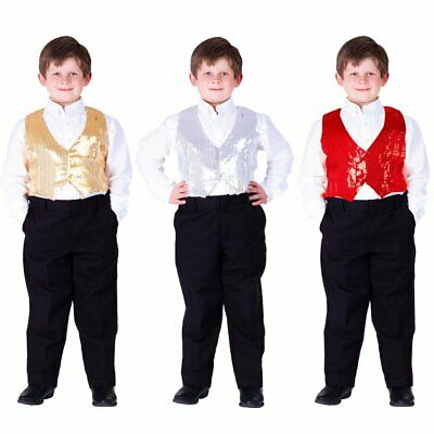 Dress Up America Teen and Boys Sequin Vest - Silver, Gold or Red