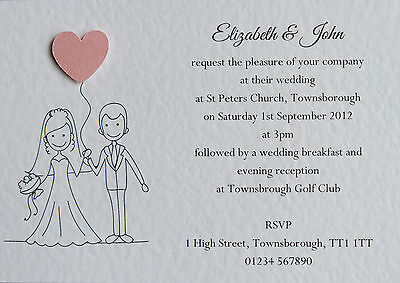 Personalised Wedding Invitations or Evening Invites with Envelopes (Qty 50)