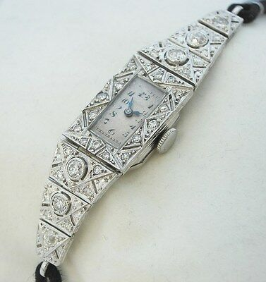 Antique Platinum Diamond Wristwatch Vintage Art Deco Filigree Reduced