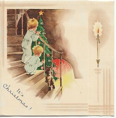 Vintage Greeting Card Christmas Morning Art Deco 1940s Children Stairs v646