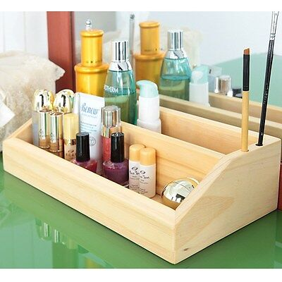 [Made In Korea] Pine solid wood 2 layer Cosmetic Organizer Box Makeup bag case