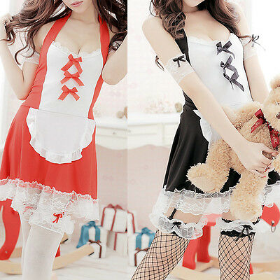 Ladies Sexy French Maid Waitress Fancy Dress Fun Party Women Outfit