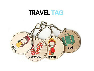 Wooden Style Cute Girls Travel Bag Suitcase Luggage Tag (4 types to select)