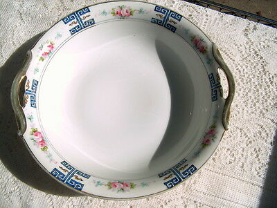 HAND PAINTED NIPPON MARKED SERVING BOWL W/PINK ROSES& BLUE GREEK KEY DESIGN NICE