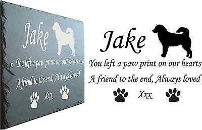 Pet Memorial Slate Plaque Personalised for your Husky - Japanese Akita 23cm x 16
